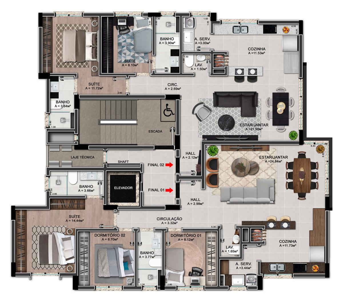 Dois apartamentos por pavimento