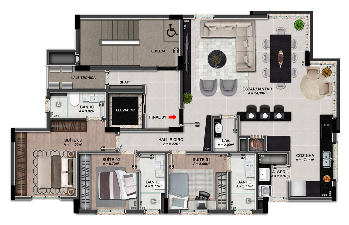 Um apartamento por pavimento